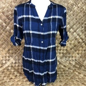 Holding Horses Sz 2 Blue Plaid Flannel Tunic Top